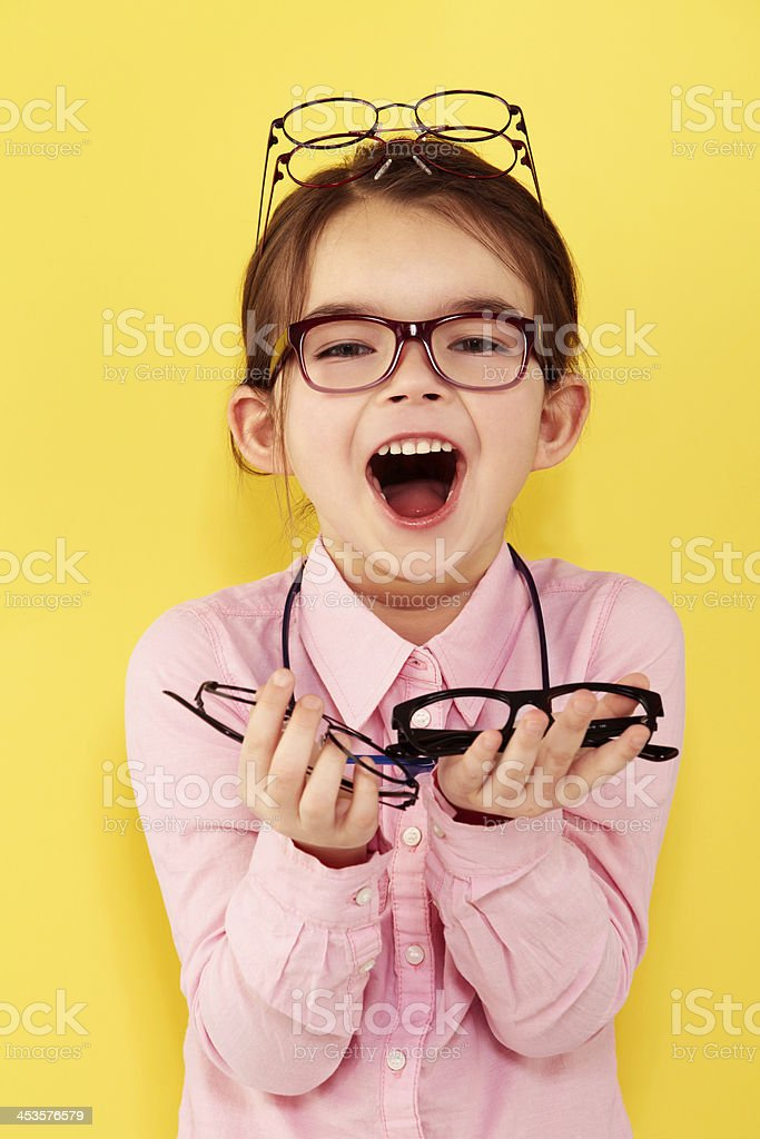 She's excited about spectacles stock photo