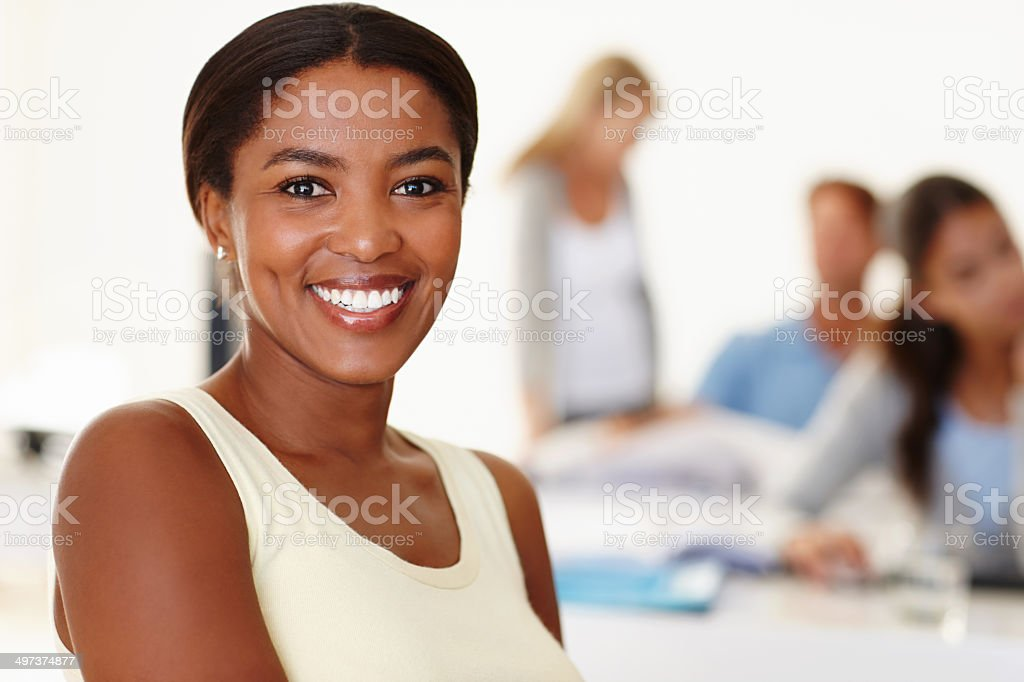 She's excited to be part of the team stock photo