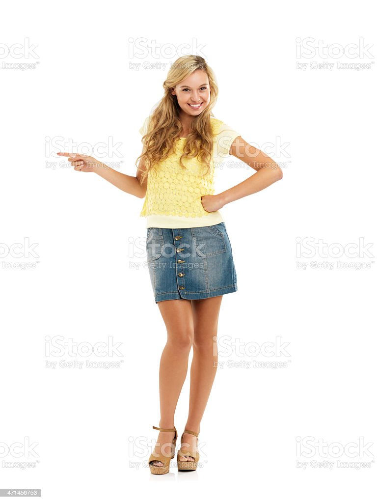 She's excited to point out this copyspace! stock photo