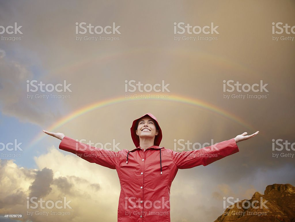 She's found her rainbow moment! stock photo