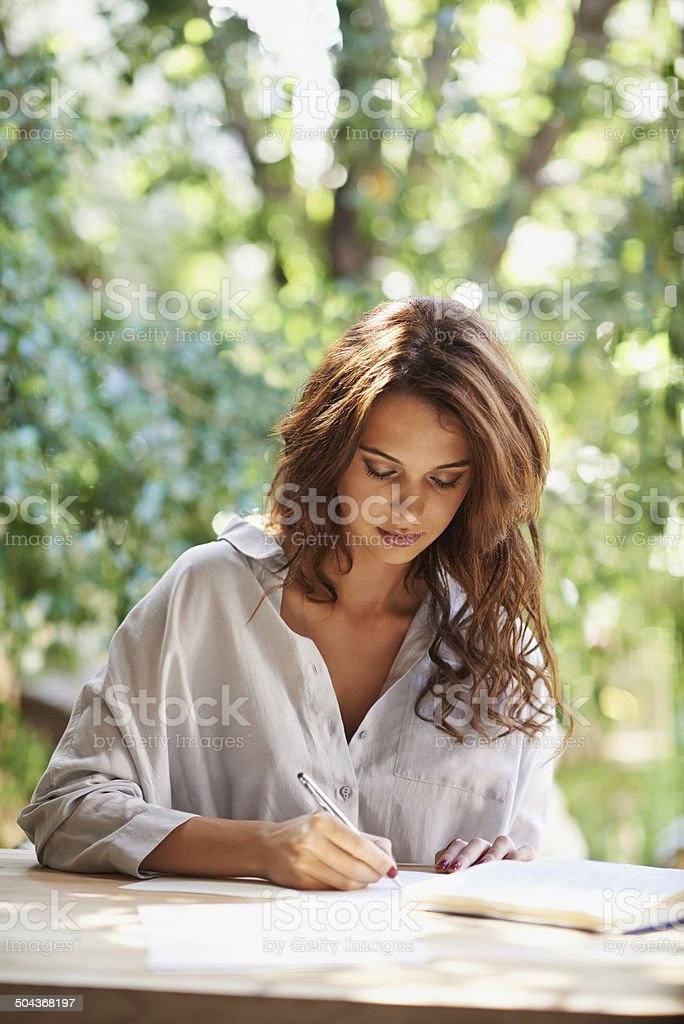 She's going to become a famous novelist stock photo