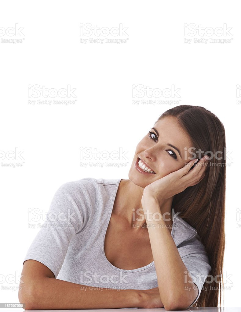 She's got a casual approach royalty-free stock photo