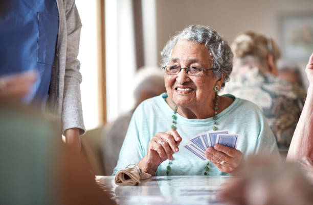 She's got a great hand and she knows it stock photo