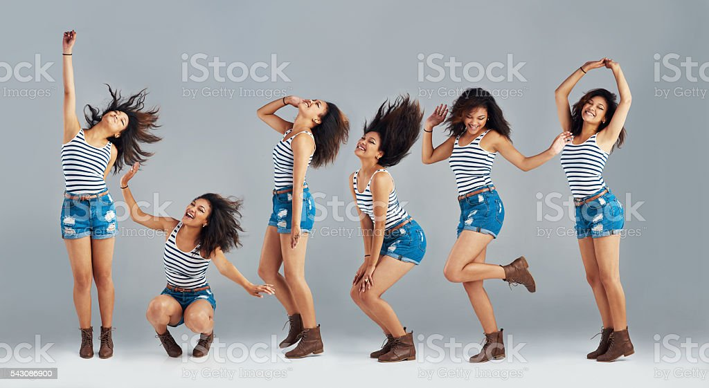 She's got all sorts of moves stock photo