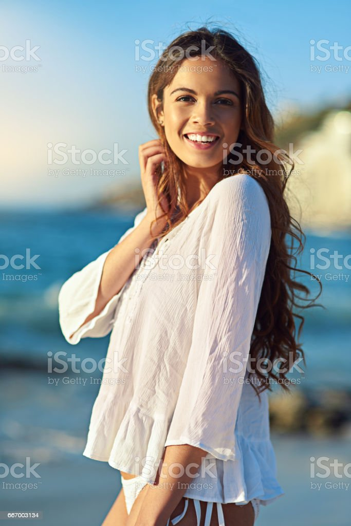 She's got beauty to match the brightest summer days stock photo