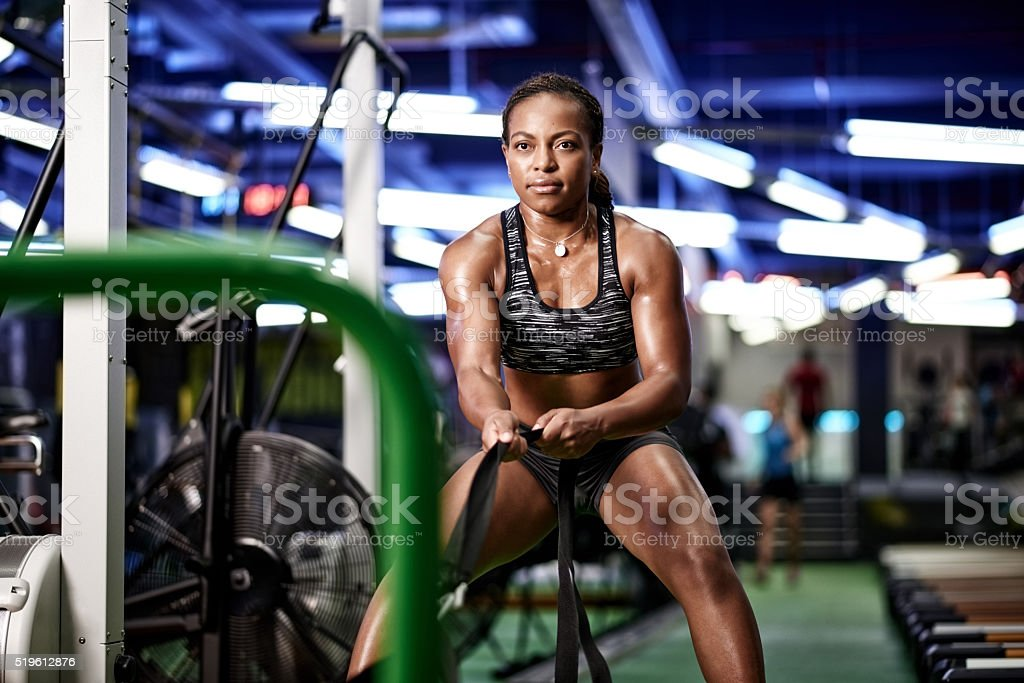 She's got hold of her fitness goals stock photo