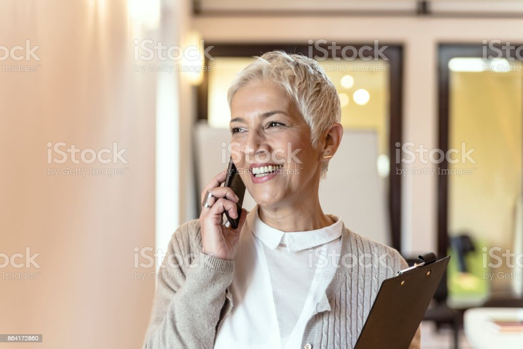 She's got impeccable phone etiquette royalty-free stock photo
