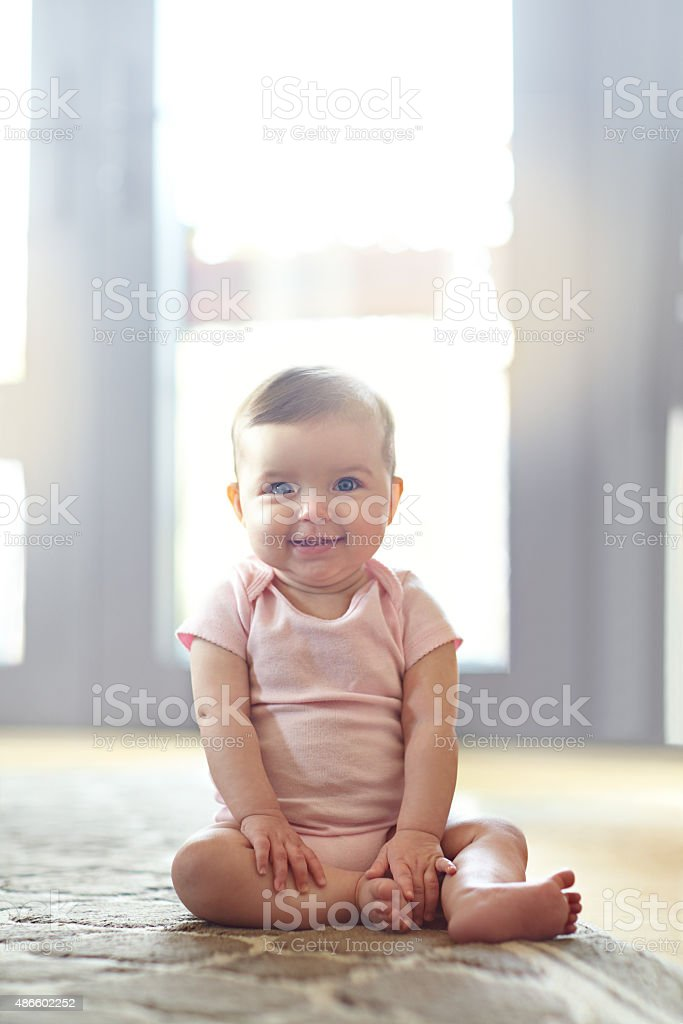 She's got some mischief in her eyes stock photo