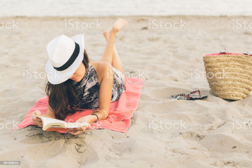 She's got summer on her mind stock photo