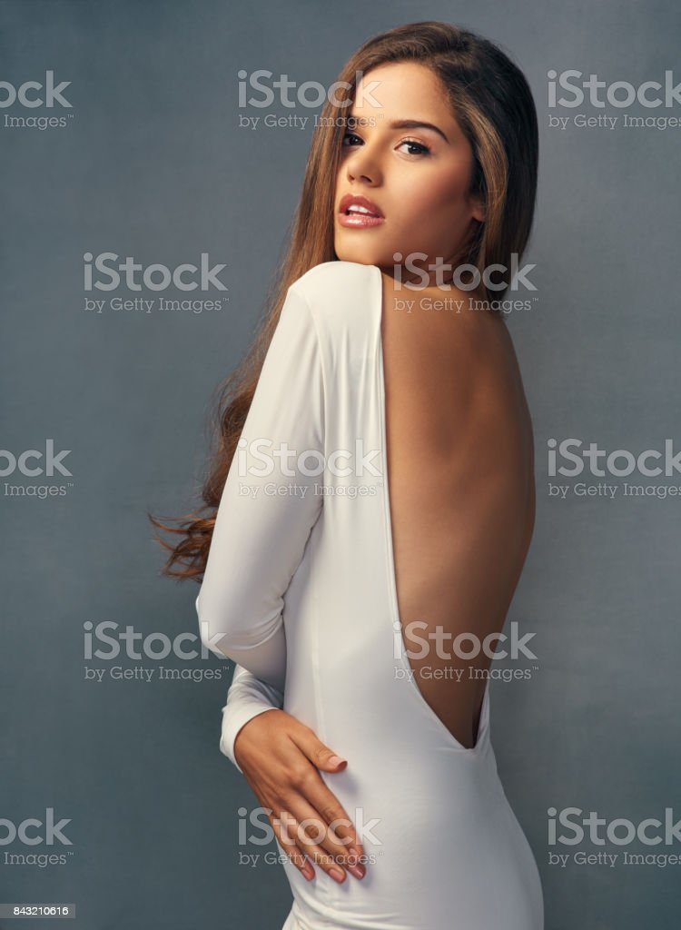 She's got that spellbinding beauty stock photo