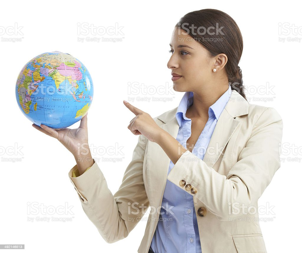 She's got the businessworld in her hands stock photo