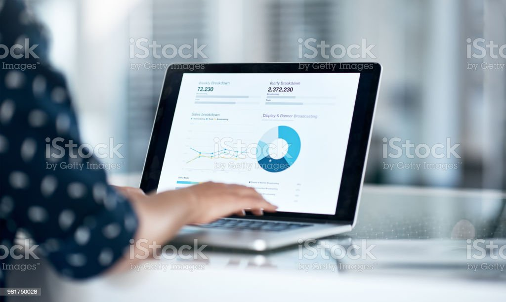 She's got the financial forecast right at her fingertips stock photo
