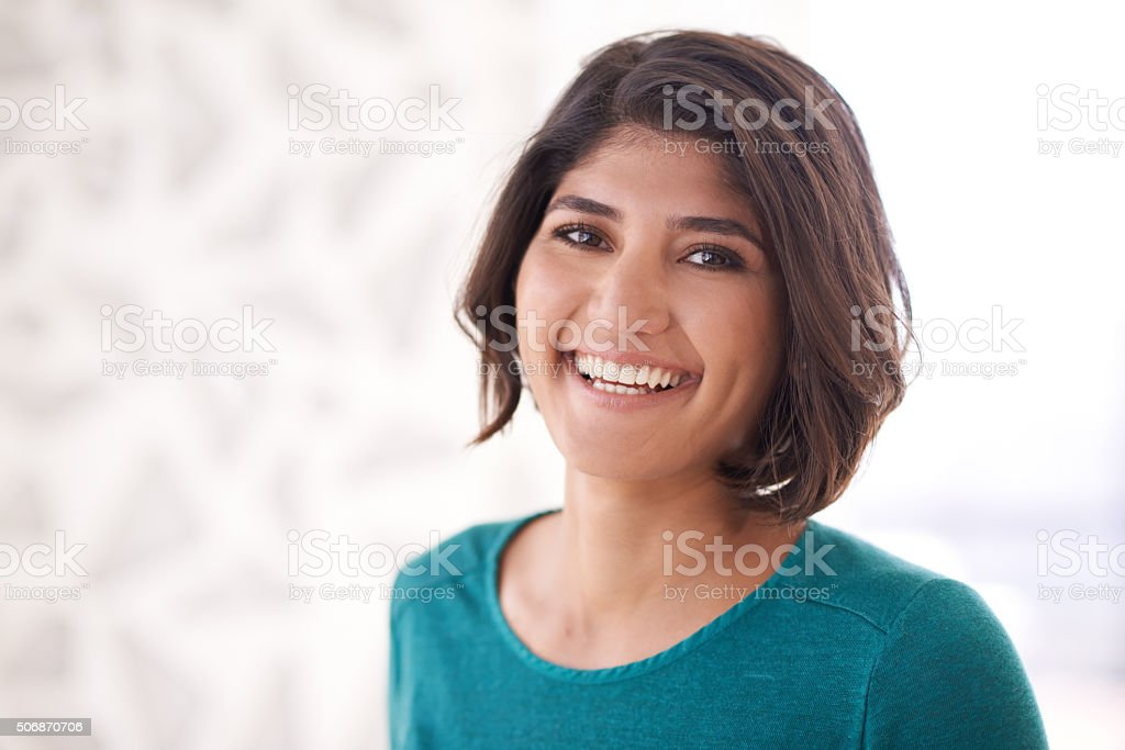 She's got the right attitude stock photo