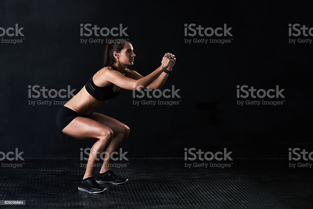 She's got the squat stock photo