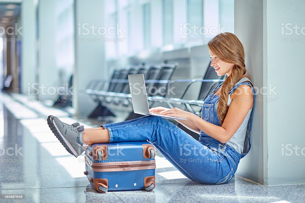 She's got traveling all figured out stock photo