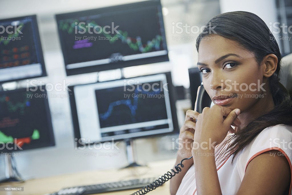 She's got your portfolio under control stock photo