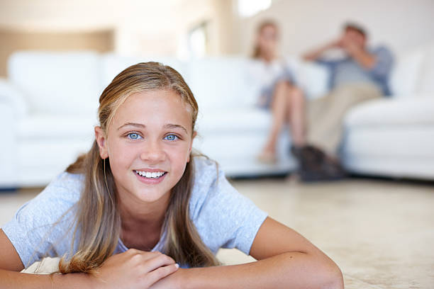She's happiest at home stock photo