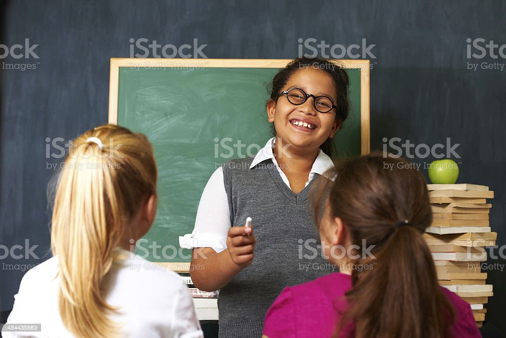 She's happy to help her friends royalty-free stock photo