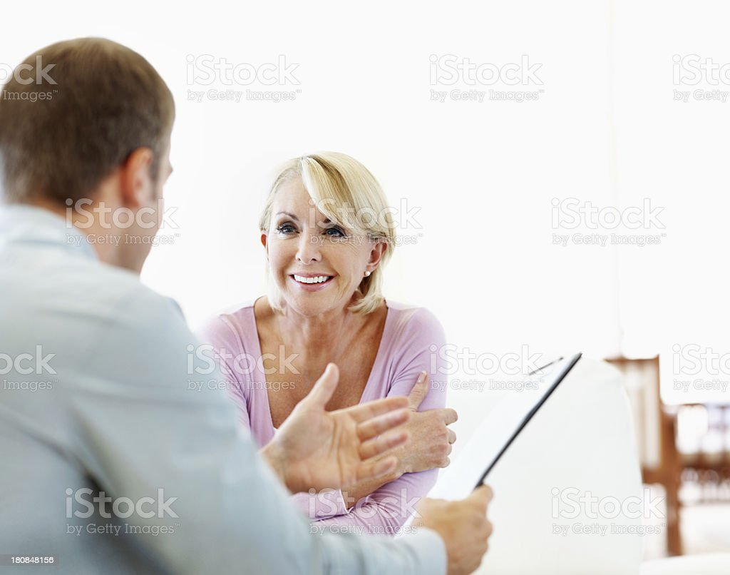 She's happy with the deal royalty-free stock photo