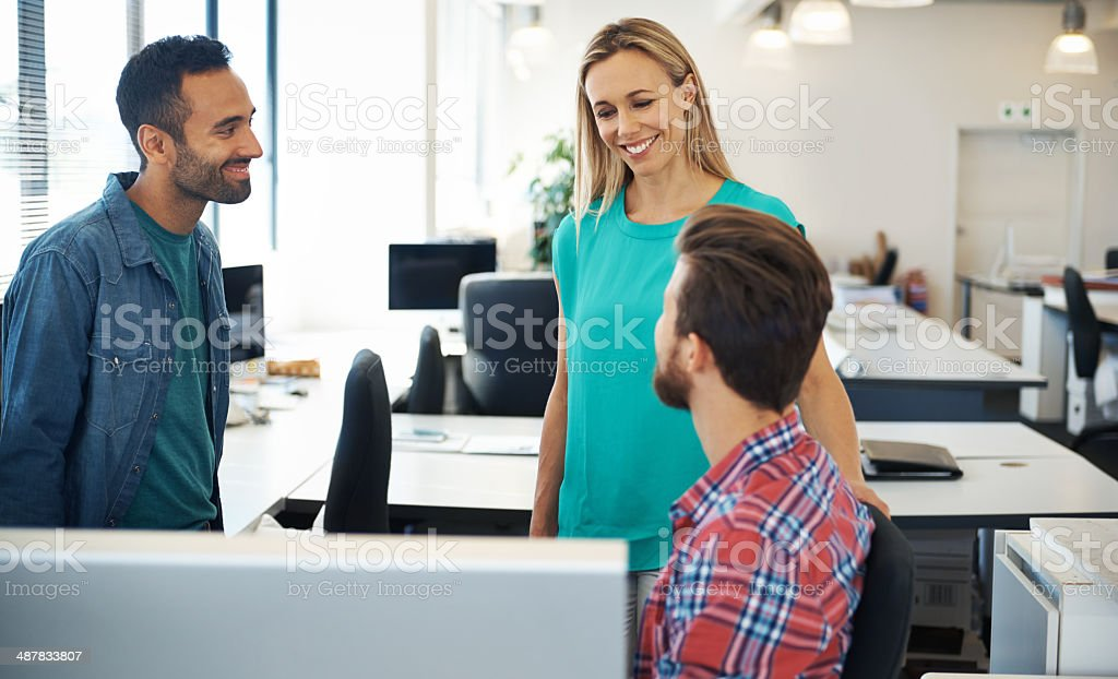 She's happy with their progress royalty-free stock photo