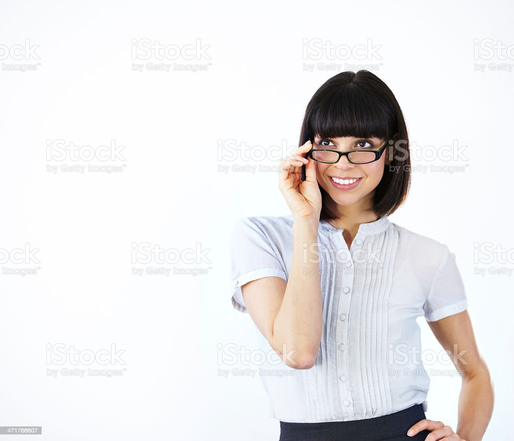 She's impressed by what she sees - Copyspace royalty-free stock photo