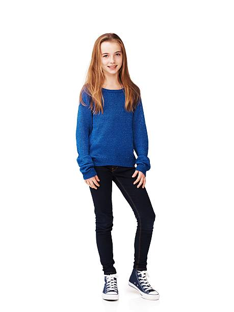 She's laid-back and relaxed Full body portrait of a pretty young girl standing against a white background girls stock pictures, royalty-free photos & images