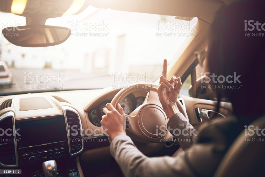 She's lost her cool on the road stock photo