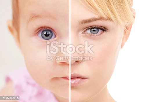 Split screen shot of a woman as a baby and as she is today