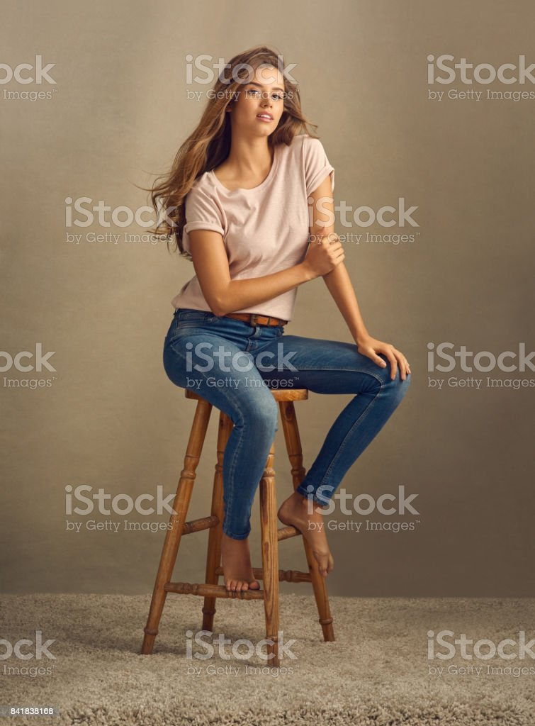 She's not just another pretty face stock photo