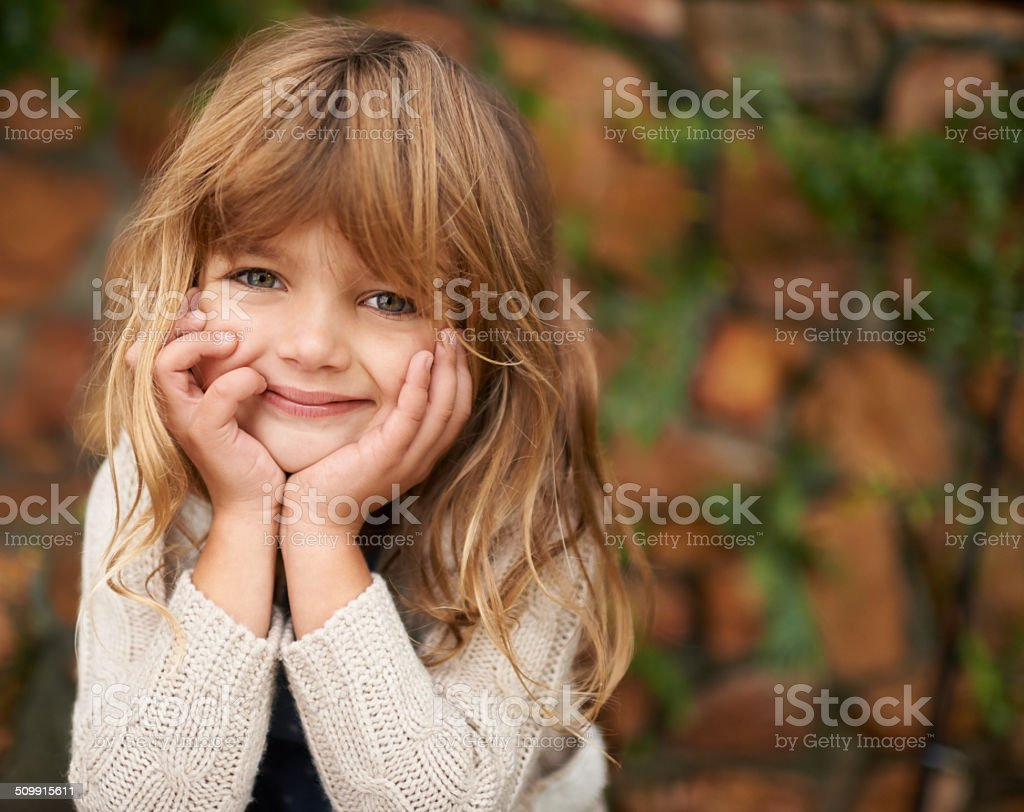 She's off the cute meter stock photo