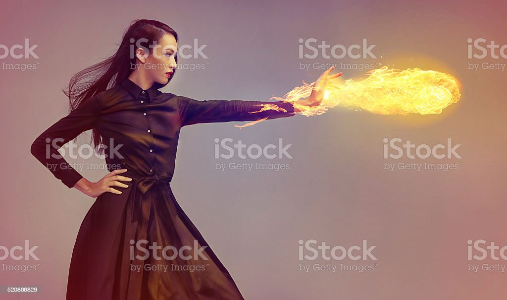 She's on fire! stock photo