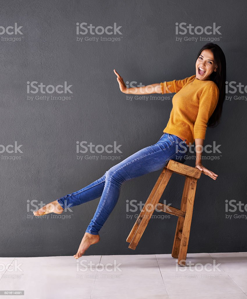 She's over the moon! stock photo