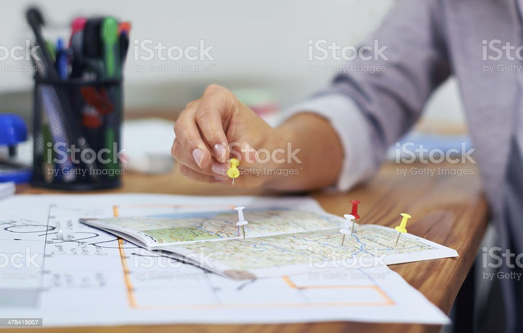 She's planning to go globetrotting stock photo