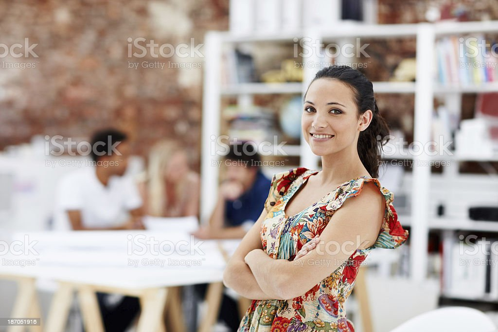 She's proud of her design team royalty-free stock photo