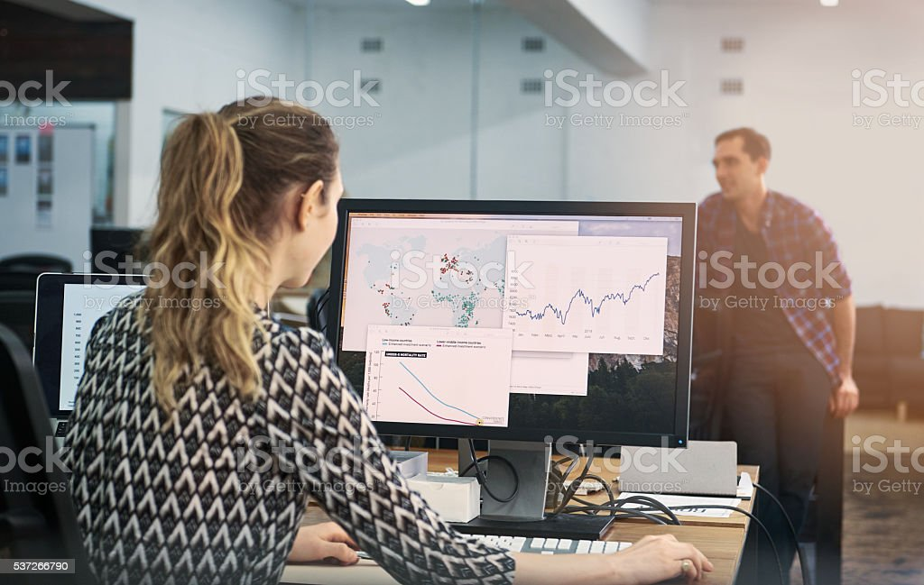 She's putting their startup on the map stock photo