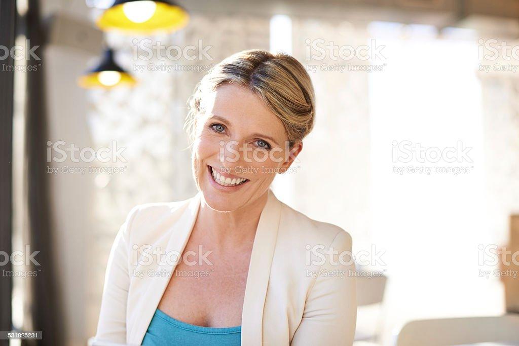 She's radiating confidence stock photo