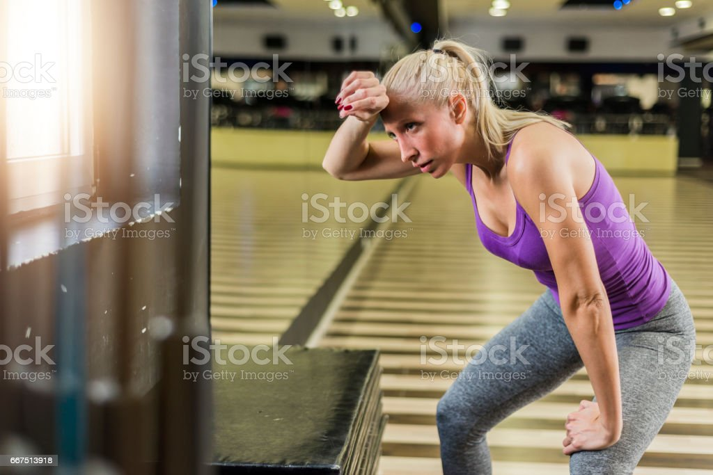 She's reached his fitness limit foto stock royalty-free