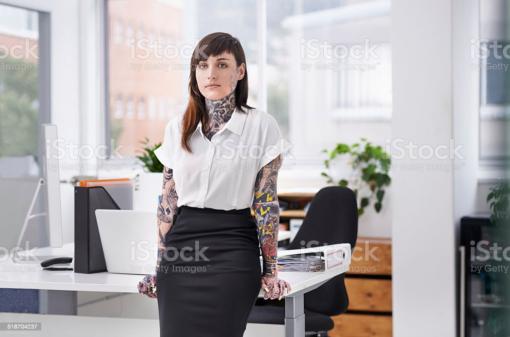 She's ready to rock the corporate scene stock photo