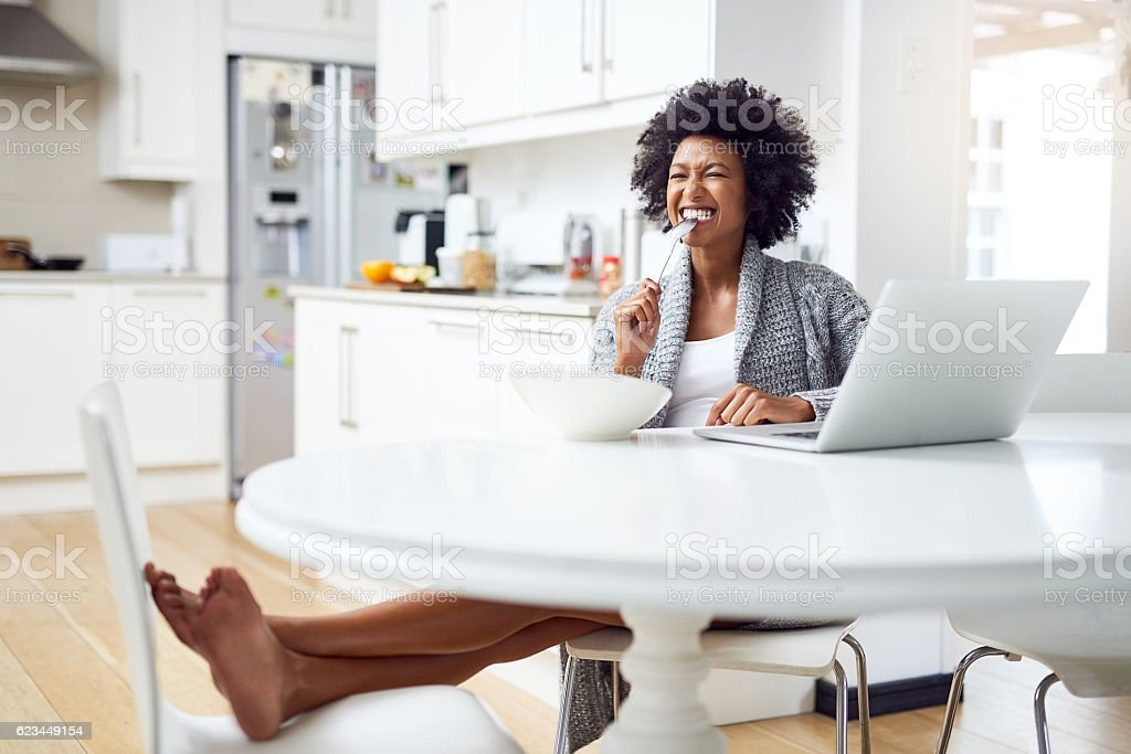 She's seriously hungry stock photo