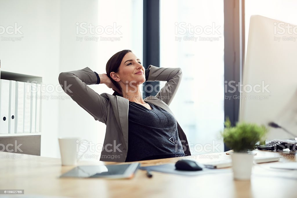 She's signed all her deals for the day stock photo