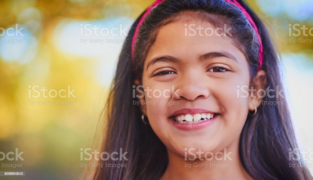 She's smiling because school is out stock photo