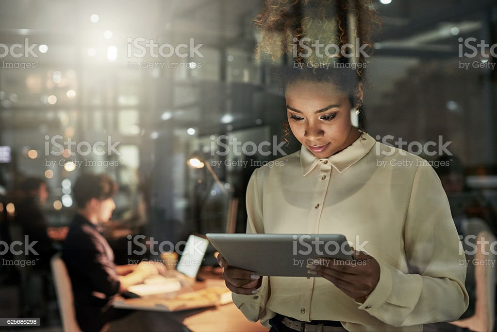 She's taking the lead on this project royalty-free stock photo