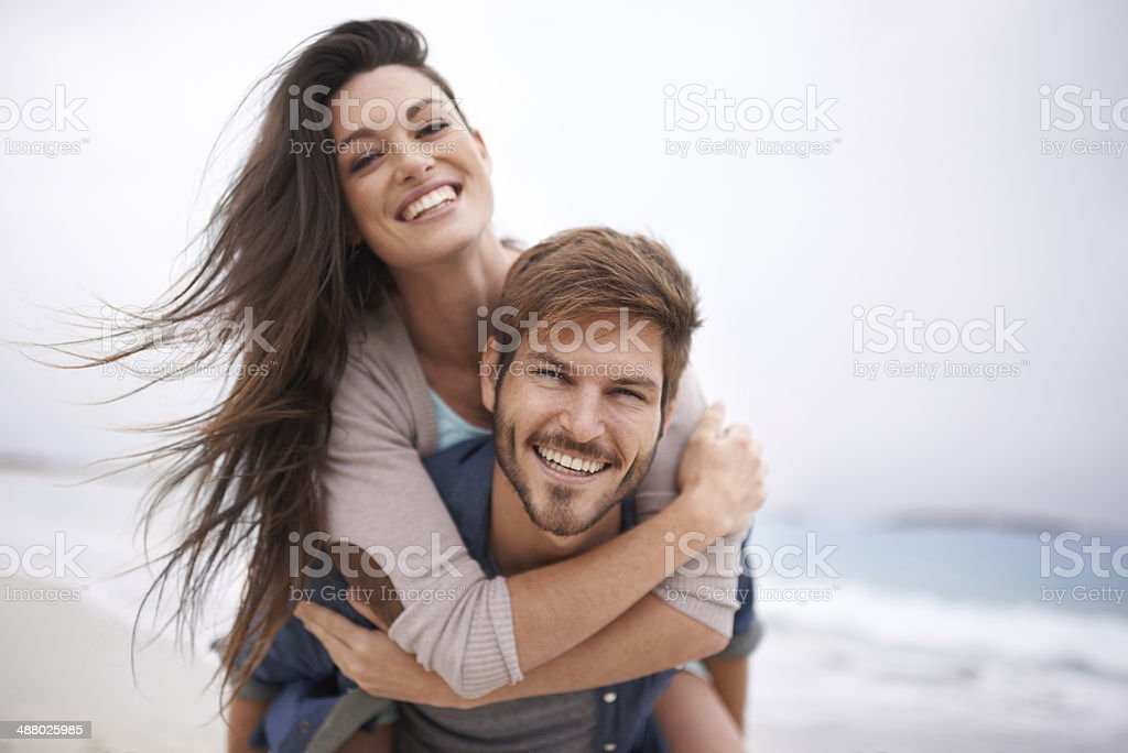 She's the best beach buddy stock photo