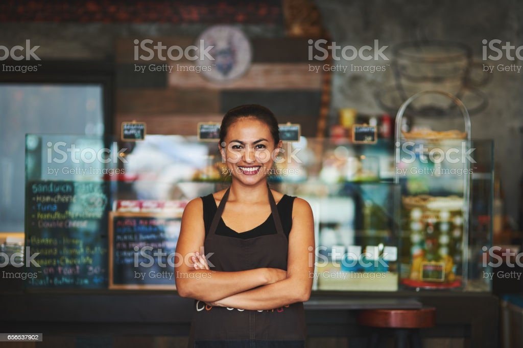 She's the queen of coffee stock photo