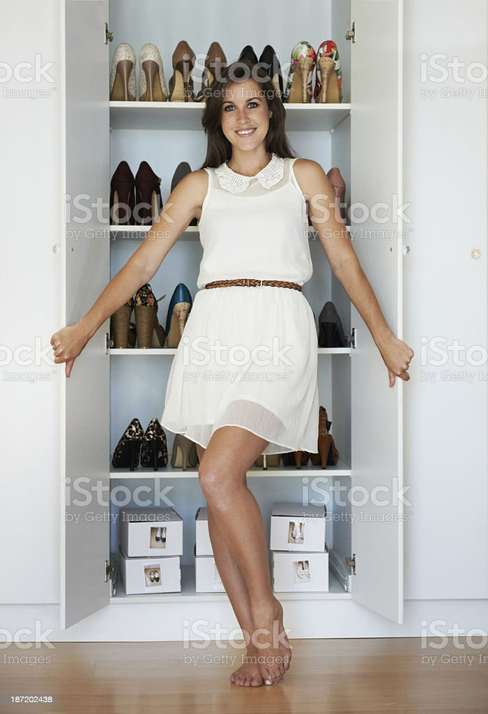 She's the queen of shoes! stock photo