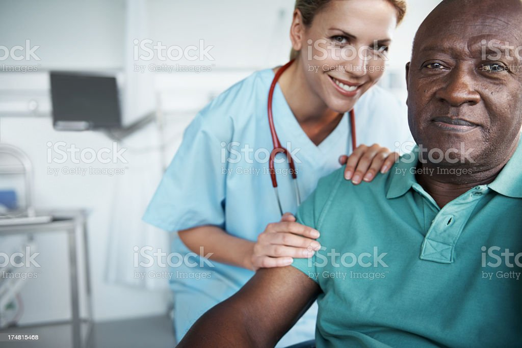 She's there to give him the support he needs stock photo