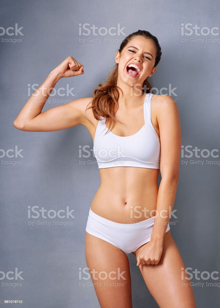 She's thrilled about the effects of a healthy lifestyle royalty-free stock photo