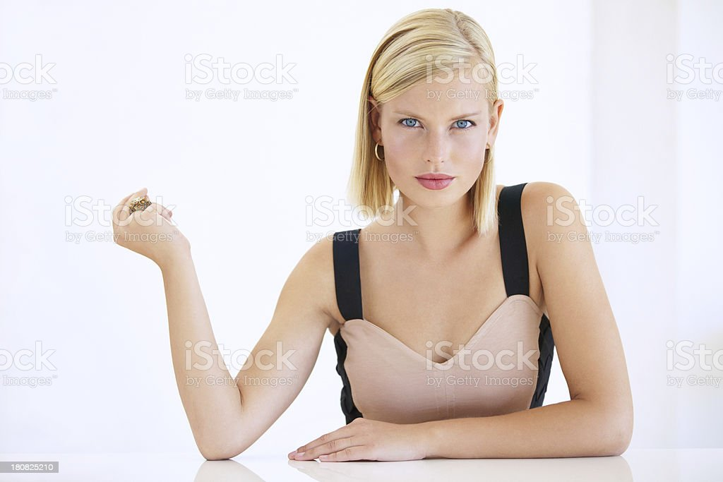 She's used to getting what she wants stock photo