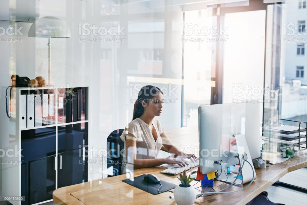 She's very thorough in completing tasks stock photo