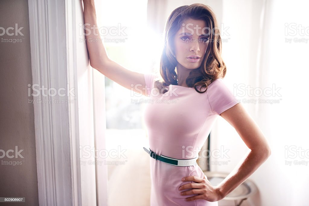 She's waiting for you in the doorway stock photo